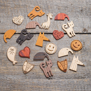 wooden pins and brooches