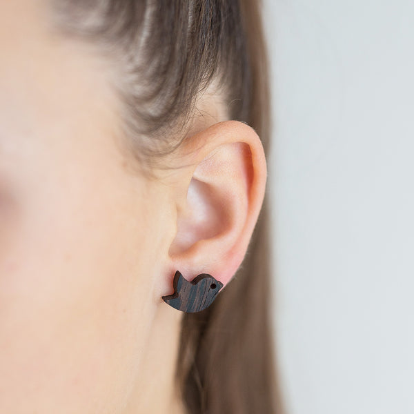 black wenge birdie earrings