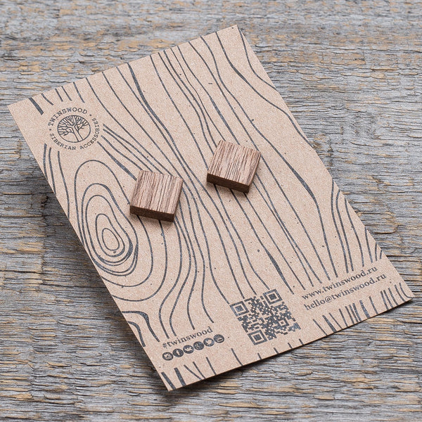oak square earrings