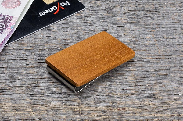 Kusia wood minimal money clip