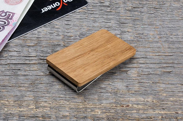 Oak wood minimal money clip