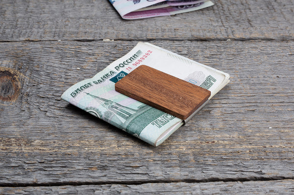 Mahogany wood minimal money clip