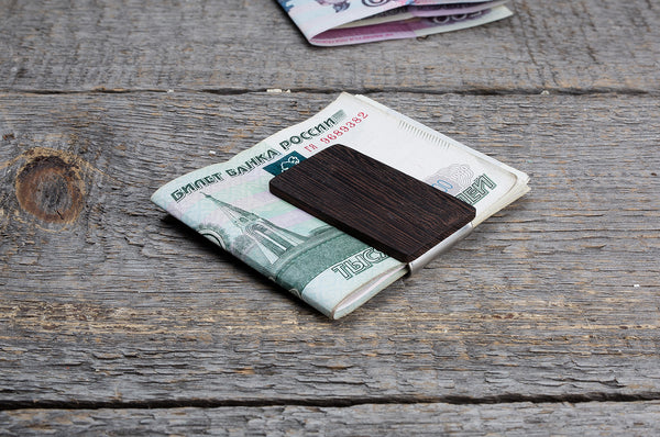 Wenge wood minimal money clip