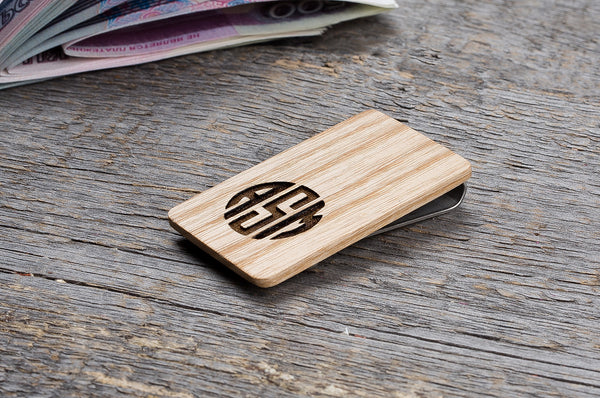 Walnut wood minimal money clip