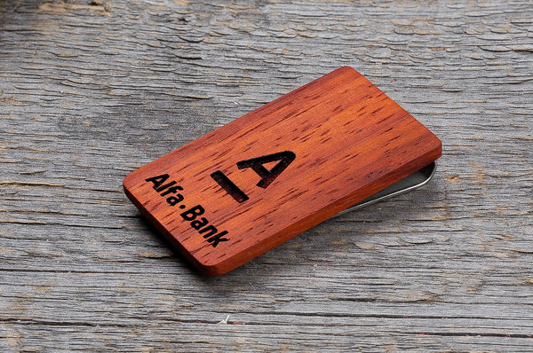 White ash wood minimal money clip