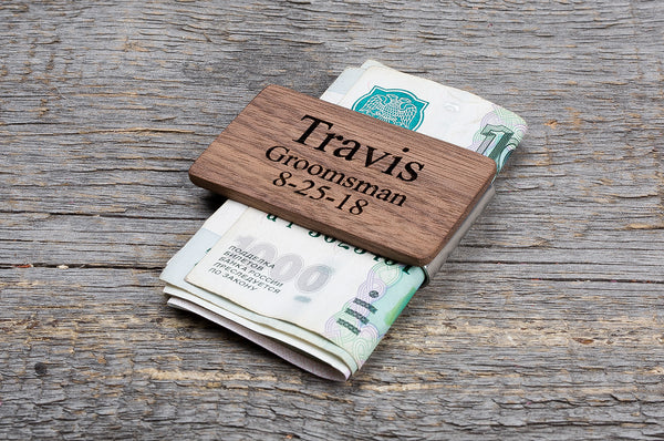 Rosewood wood minimal money clip