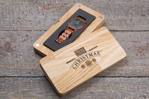 Original red wood grain watch, black dial,  gift box