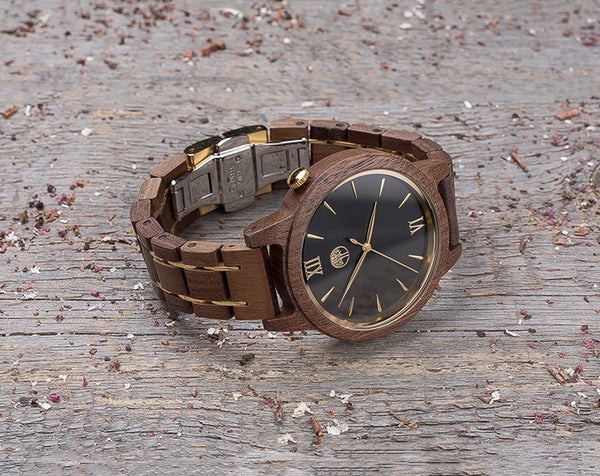 Original walnut wood grain watch, black dial, gift box