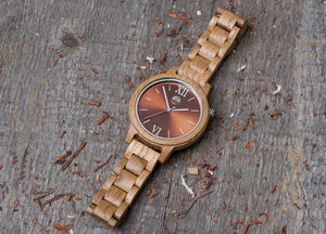 Original oak wood grain watch, wood band, brown dial