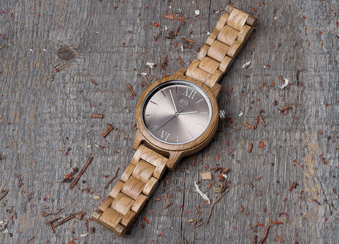 Original oak wood grain watch, wood band, silver steel dial