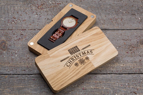 Original red wood grain watch, white ash dial, gift box