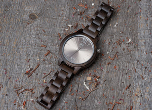 Original sandal wood grain watch, wood band, silver steel dial