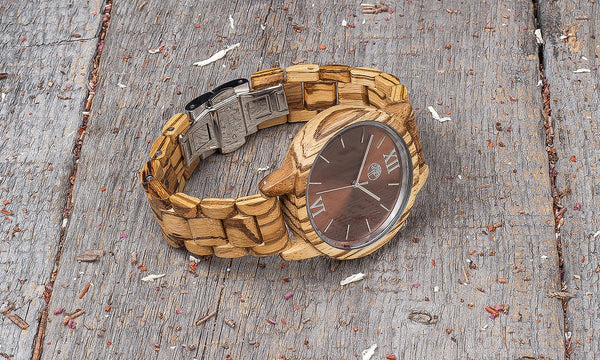 Original zebrano wood grain watch, wood band,  brown steel dial