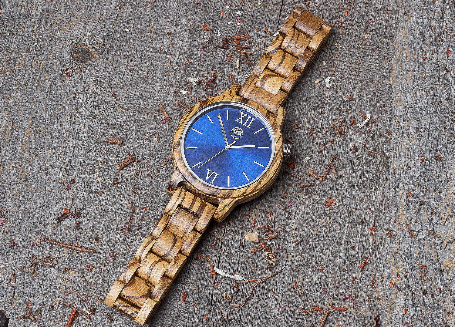 Original zebrano wood grain watch, wood band,  navy blue steel dial