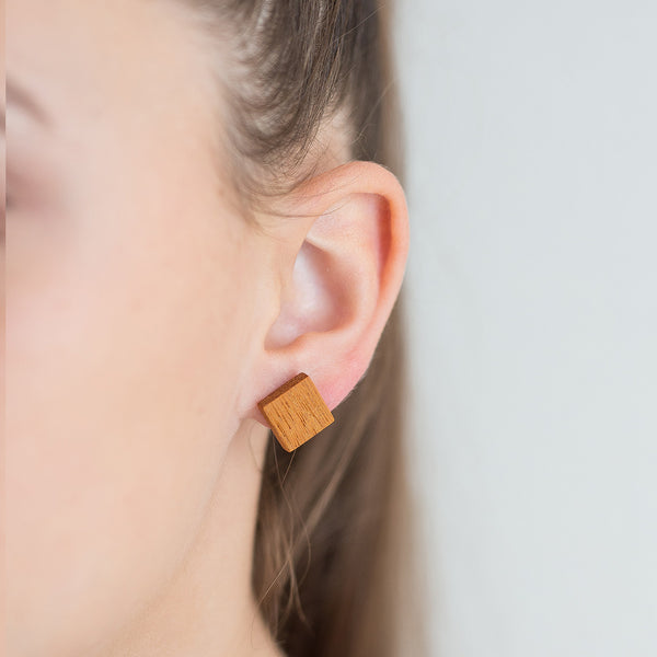 yellow kusia square earrings