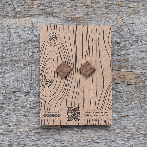 walnut square earrings