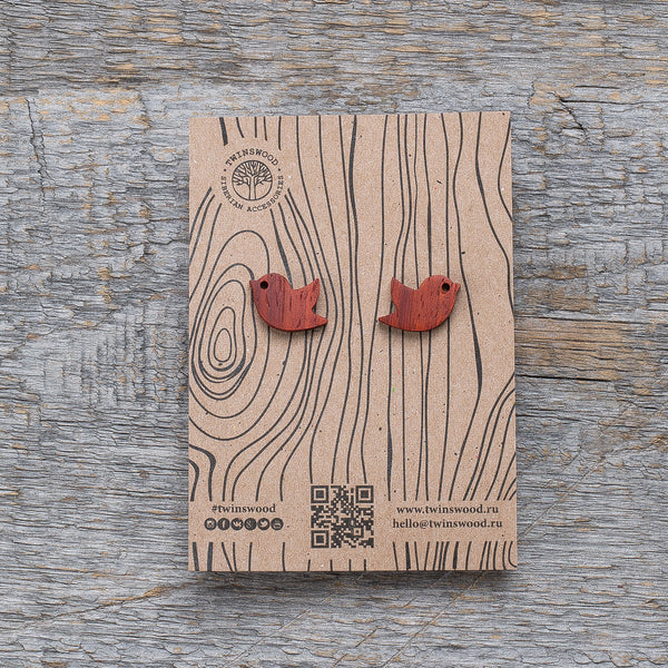 red padauk birdie earrings