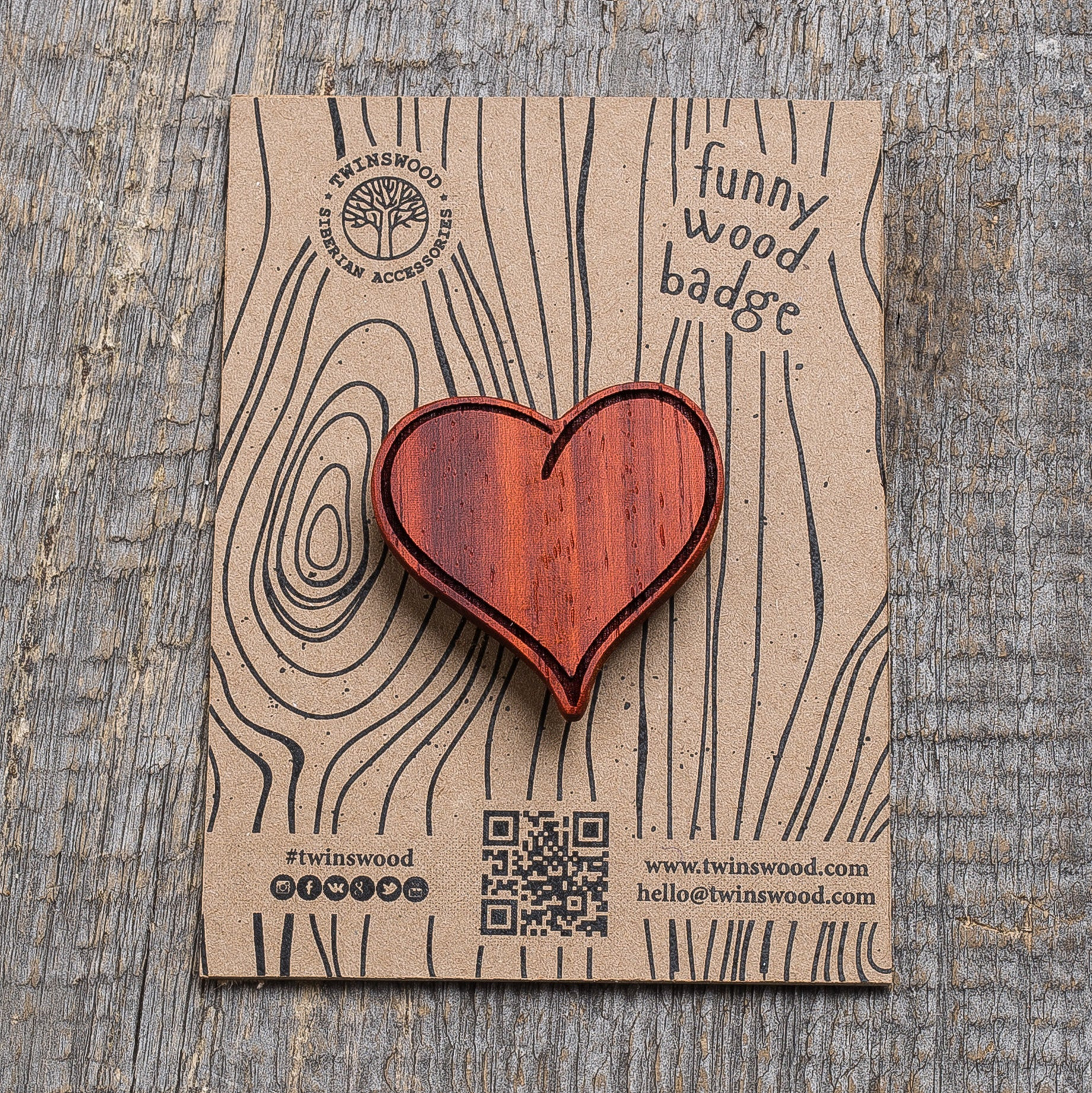 red heart wooden pin