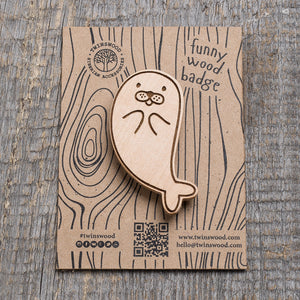 sea lion wooden pin