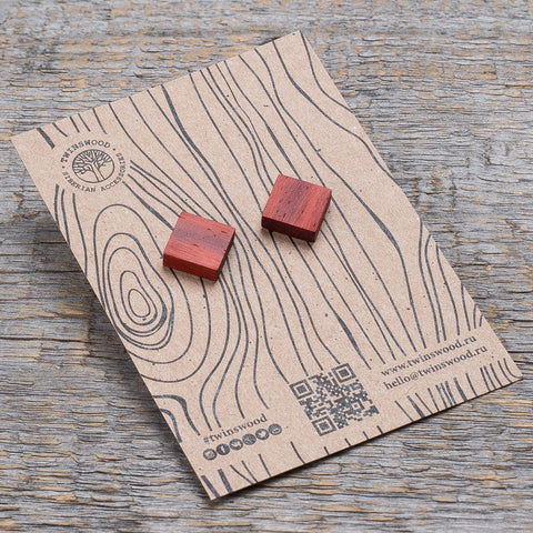 red padauk square earrings