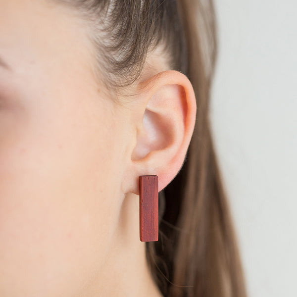 red padauk rectangle earrings