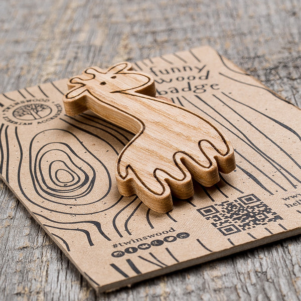white giraffe wooden pin