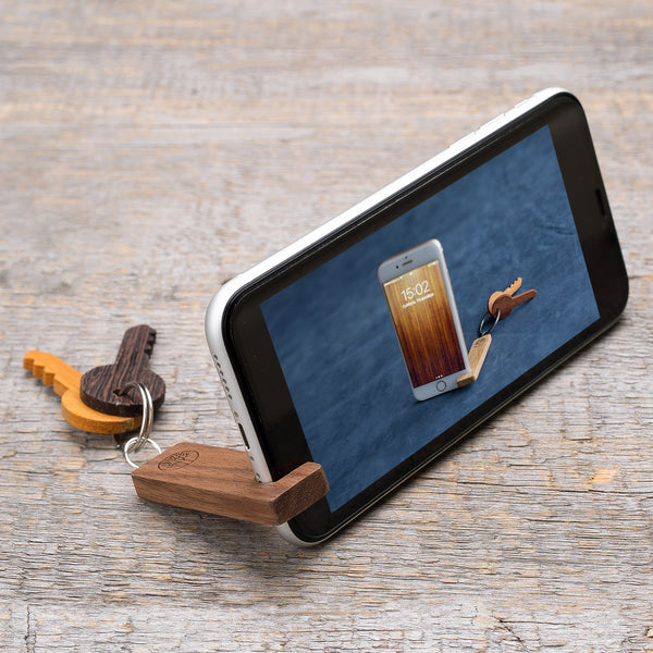 purple heart wood phone stand / keychain
