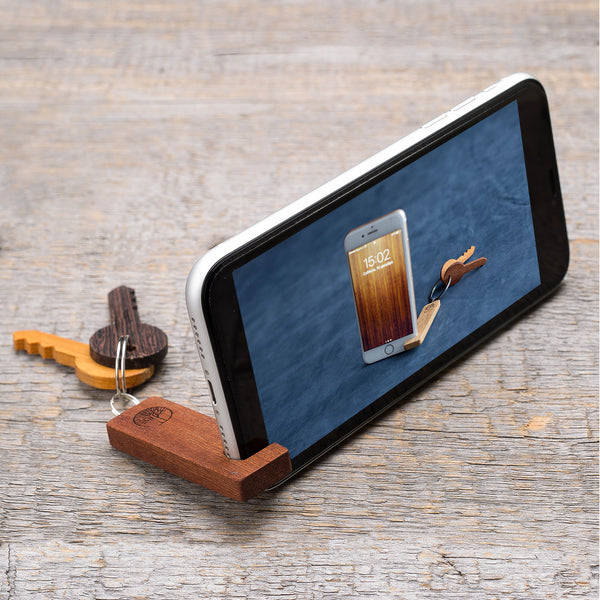 rosewood wood phone stand / keychain