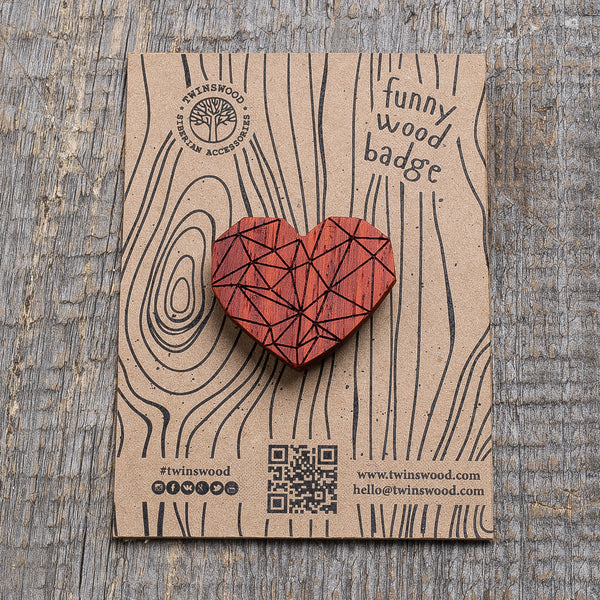 red polygonal heart wooden pin