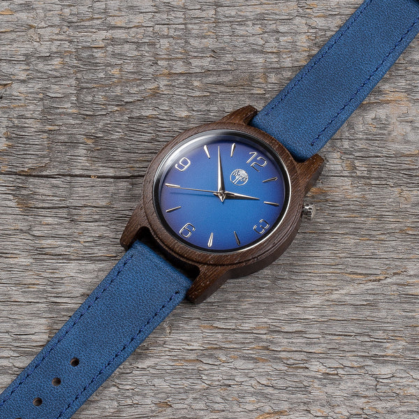 wenge wood  watch / navy leather strap