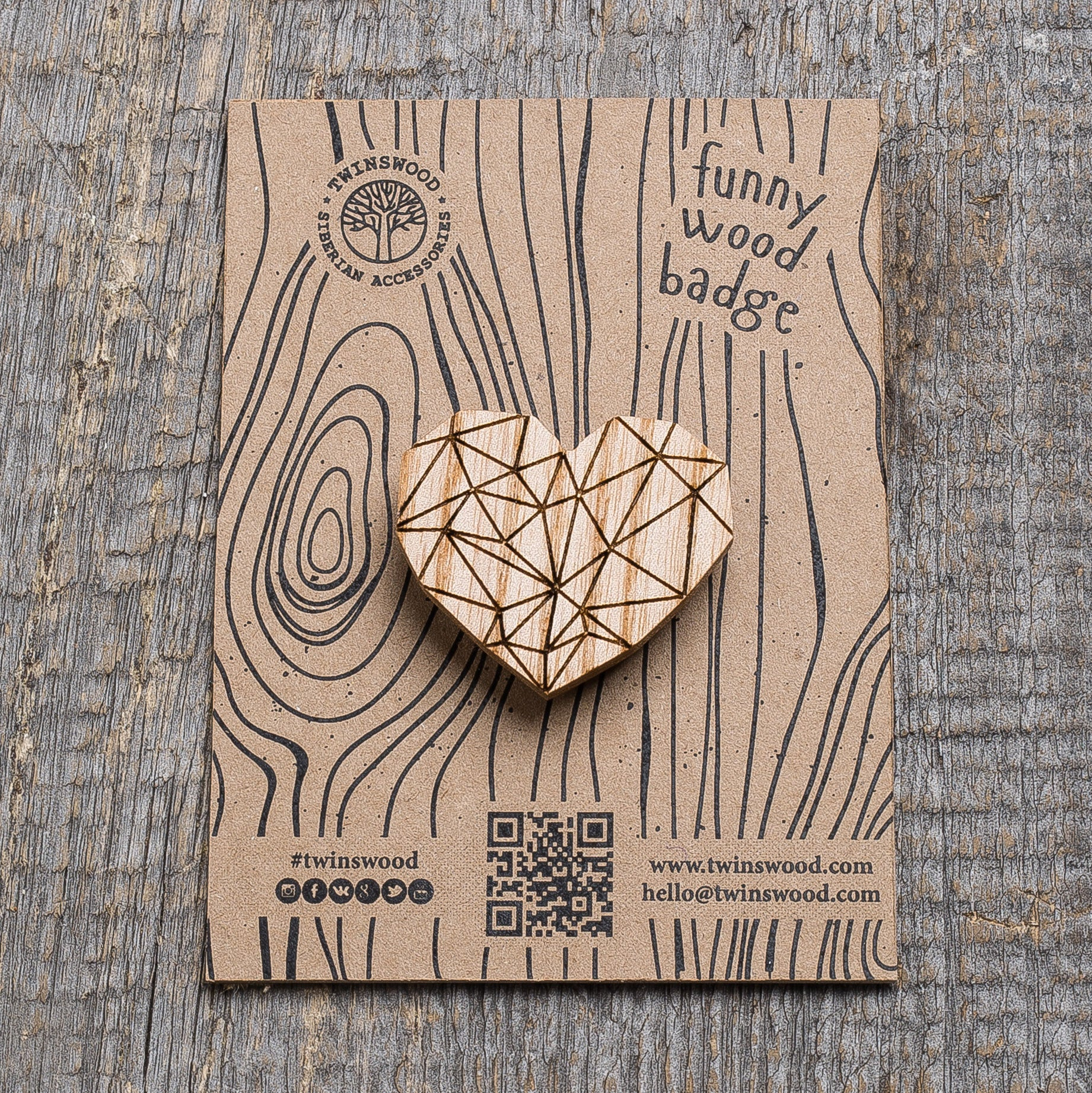 white polygonal heart wooden pin