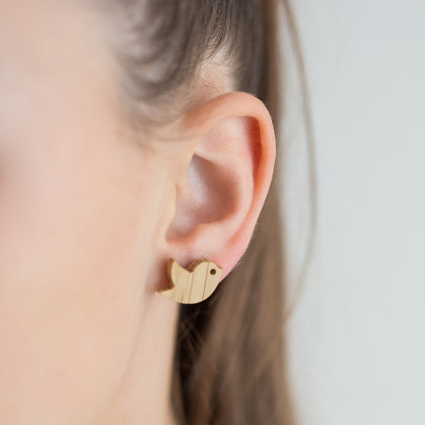 white oak birdie earrings