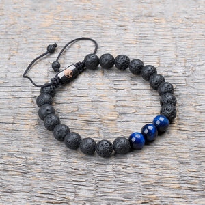 black lava stone / blue tiger eye