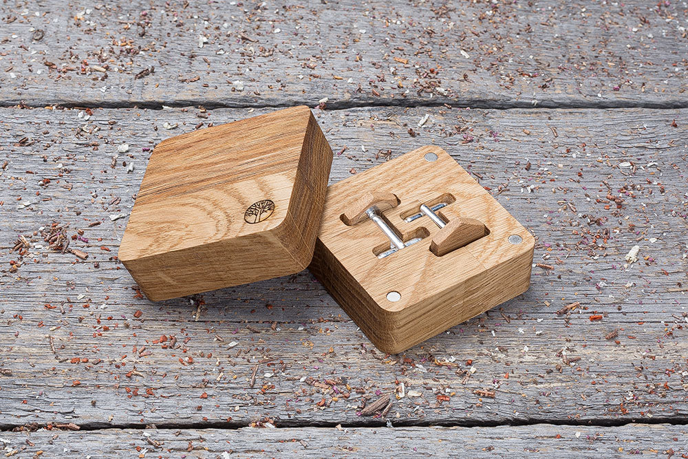 Hexagon oak cufflink