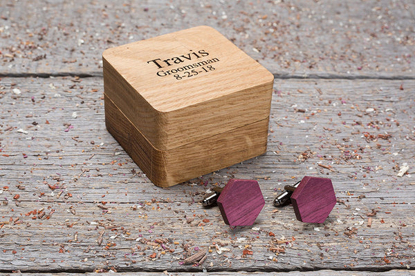 Hexagon purpleheart cufflink