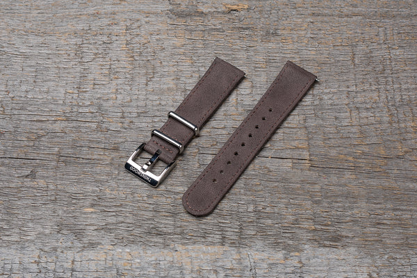 Walnut wood watch, dark brown strap