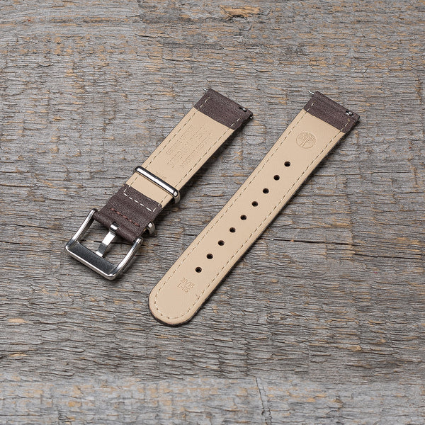 20 mm dark brown watch strap