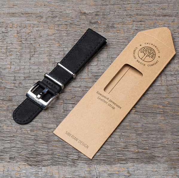 20 mm classic black watch strap