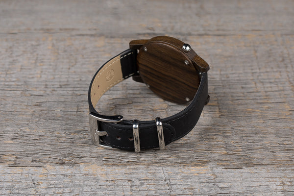 Black sandal wood watch, black strap