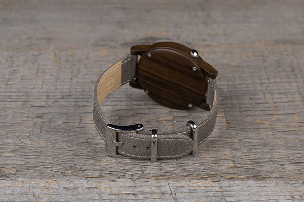 Black sandal wood watch, gray strap