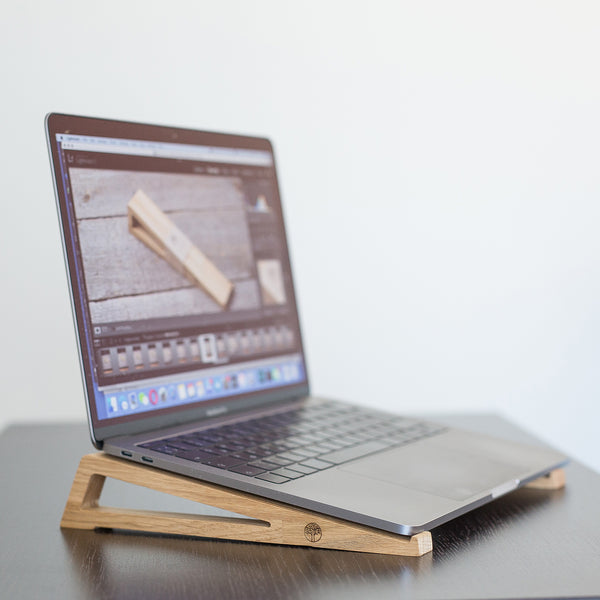 designer laptop oak wood stand