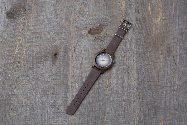 Black sandal wood watch, brown strap