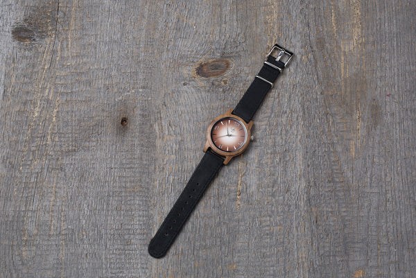 Walnut wood watch, black strap