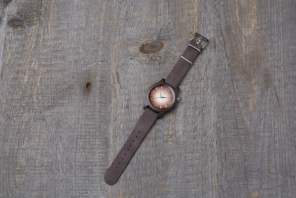 Black sandal wood watch, dark brown strap