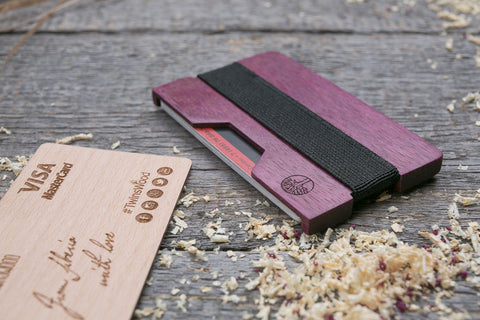 Purpleheart wood cardholder