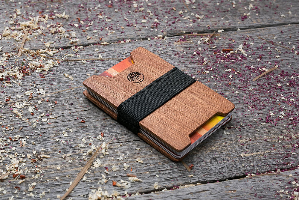 Mahogany wood wallet