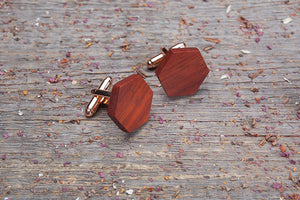 Hexagon padauk cufflink