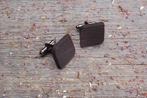 Rounded square wenge cufflink