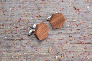 Hexagon mahogany cufflink