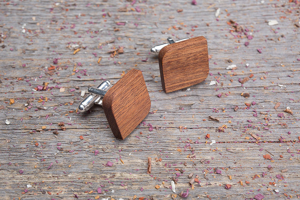 Rounded square mahogany cufflink